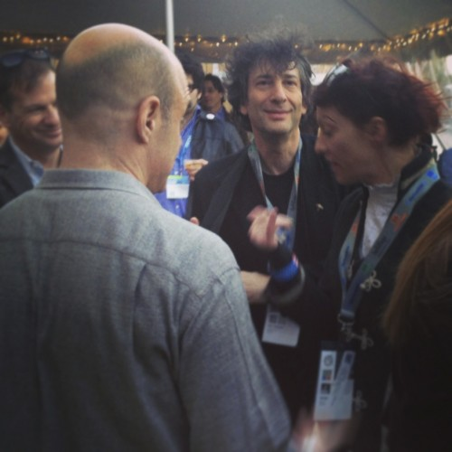 Peter Sagal, Neil Gaiman and Amanda Palmer