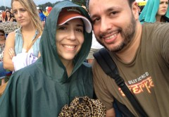 My wife and I got rained on while the lady behind us was dubious