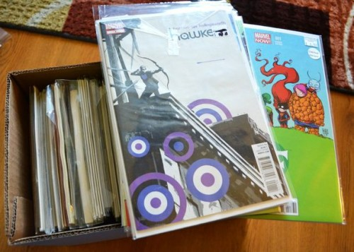 "These are some comics of mine. I LOVE ""Hawkeye"" and ""FF."""